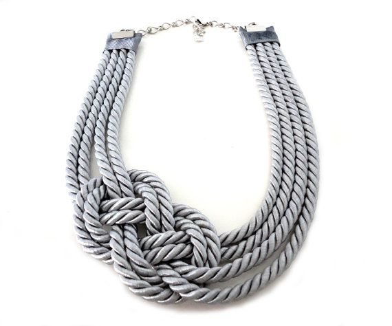 Silver Grey Nautical Rope Statement Necklace Paper Jewelry