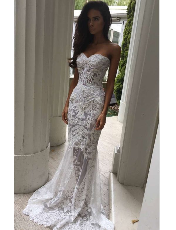 06e6a7cd579c Mermaid Sweetheart Sweep Train Lace Wedding Dress with Appliques ...