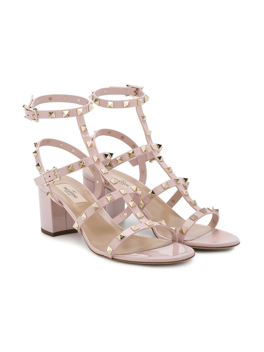 fb0eb37496c Valentino Pink Rockstud 65 Leather Sandals