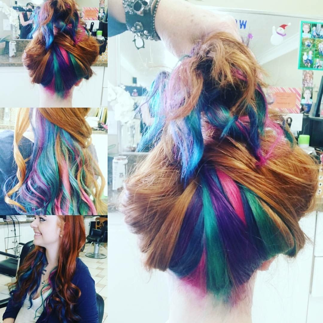 Peekaboo Hair Color Rainbow Blue Pink Real Purple Green Redhead Peekaboo Hair Colors Peekaboo Hair Cool Hair Color