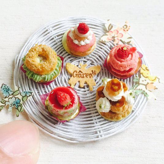 ドールハウス☆ミニチュア☆フランスのケーキ5種☆
