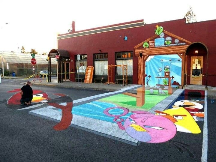 Angry Birds 3DStreet art
