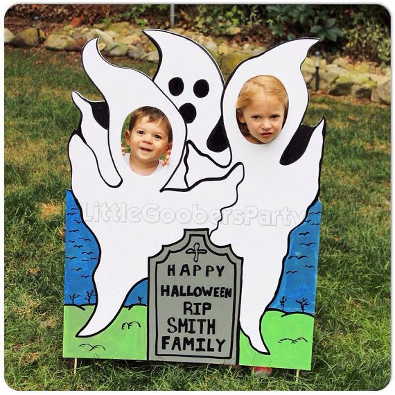 halloween photo booth prop ghosts personalized fall face in hole cutout
