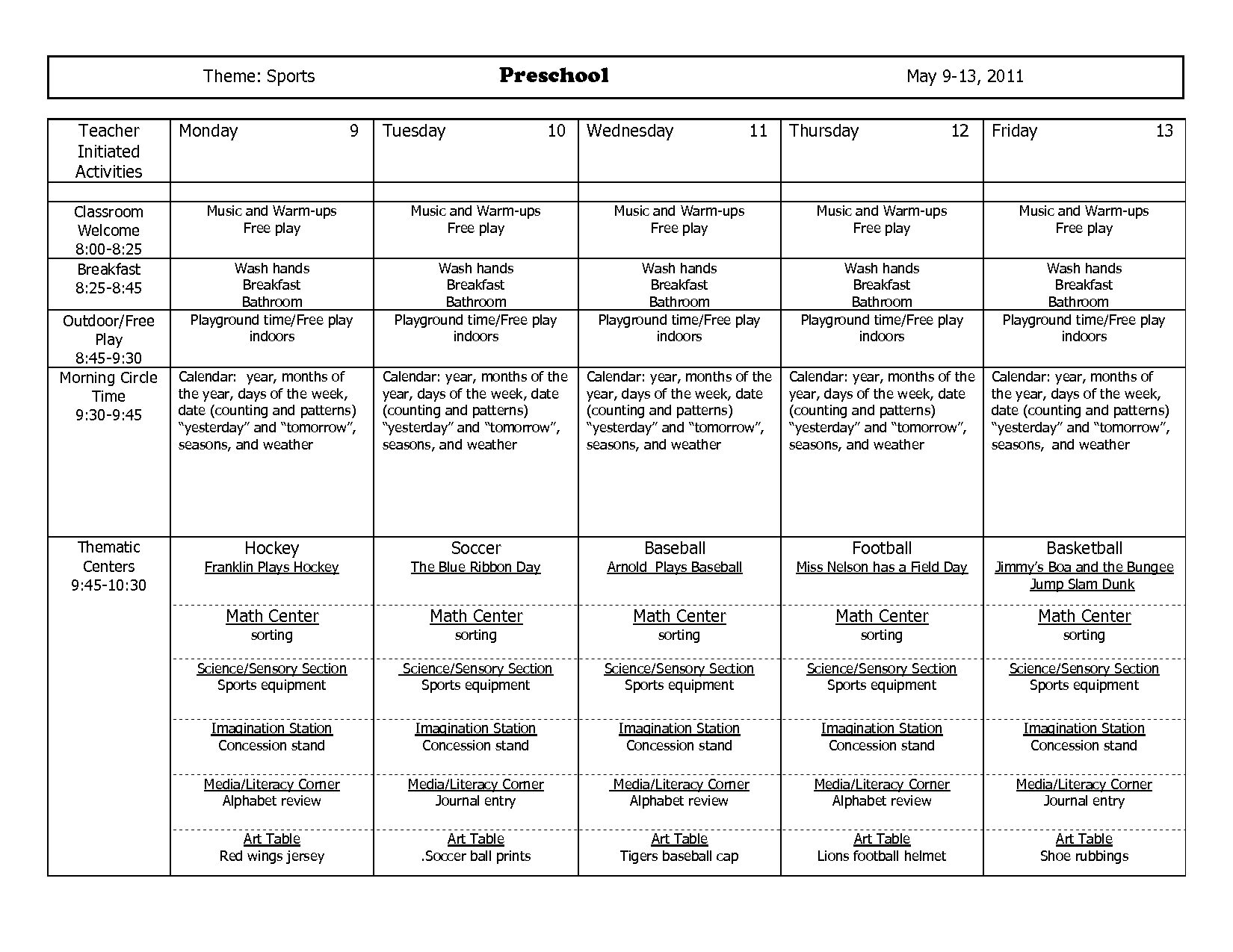 Preschool Lesson Plans Sports Theme
