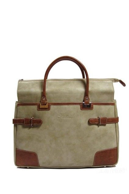 Briefcase crafted in PU, featuring two grab handles, zip top fastening with leather look zipper head, contrast color detail to straps and corners, stitching to the main, logo embossed detail to front, with multi inner pockets.$95