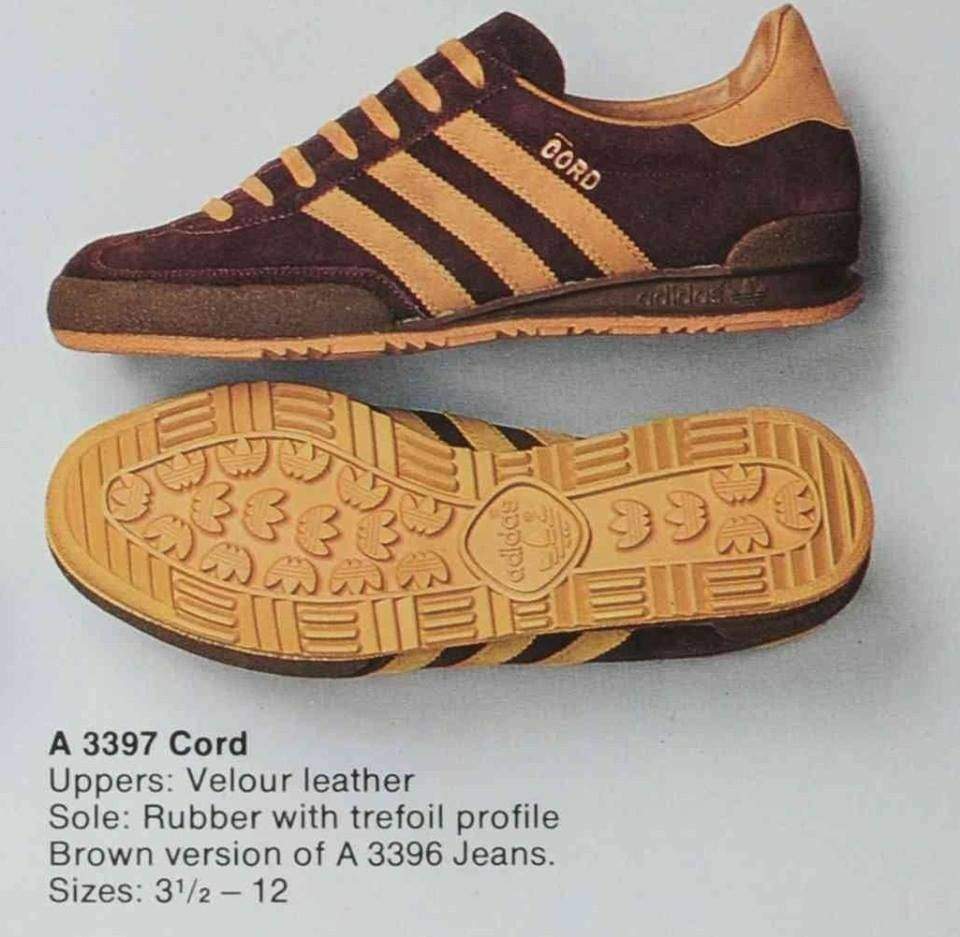 ae431e468d25 Adidas A3397 Cord from a 1979 adidas brochure. Cord is a brown version of  the original A3396 Jeans - see other pin