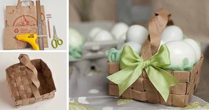 3305fd5e3 Návod, ako vyrobiť veľkonočný dekoratívny košík z papierovej tašky.  Upcyklácia, košík na Veľkú Noc, nápad, inšpirácia, postup, pre deti,  pletenie papiera