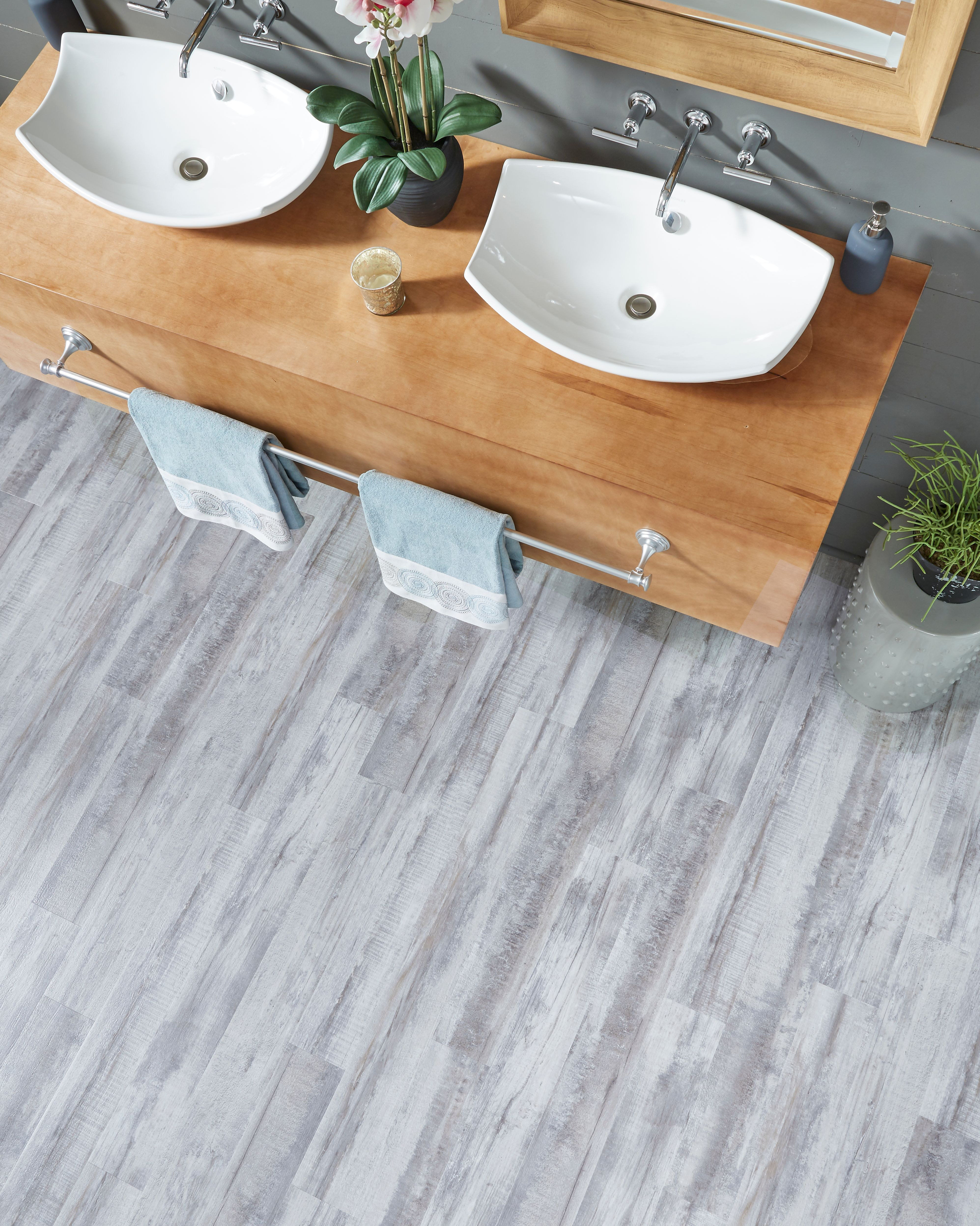 Enjoy The Sophisticated Look Without The Worry With Durable Adura Rigid Tile Shown In This Elegant Bathroo Vinyl Wood Flooring Luxury Vinyl Plank Vinyl Plank