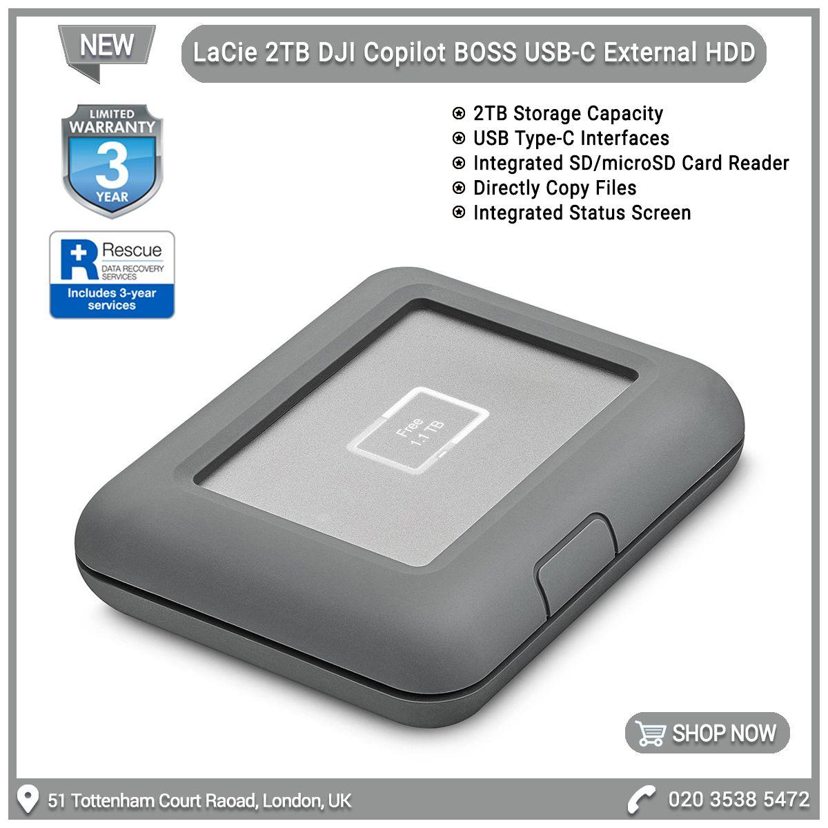 1d7045d64 LaCie STGU2000400 2TB DJI Copilot BOSS USB 3.1 Type-C External Hard Drive