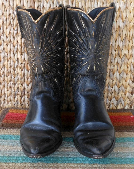 7d143e088ac Vintage 1960s Acme Cowboy or Cowgirl Collectors Black Western Boots ...