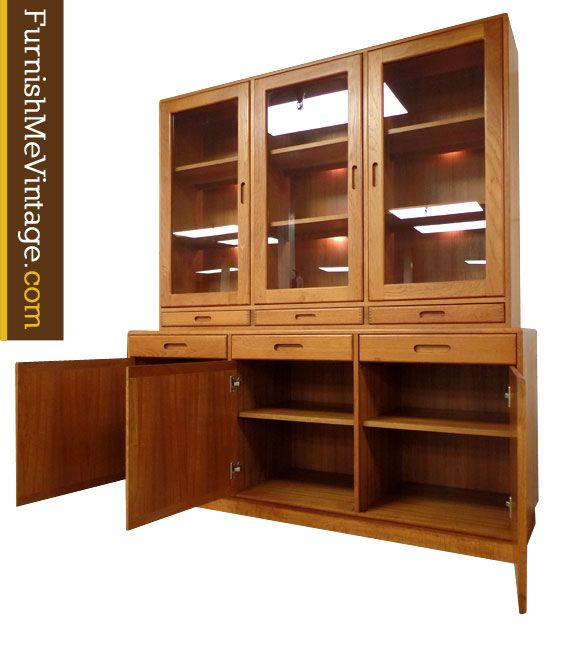 Vintage Danish teak china cabinet with lighted top display case ...