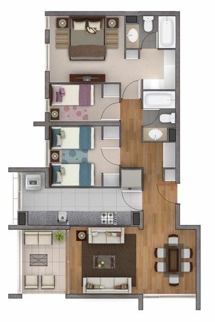 Pinterest claudiagabg apartamento 3 cuartos for Disenos departamentos pequenos planos