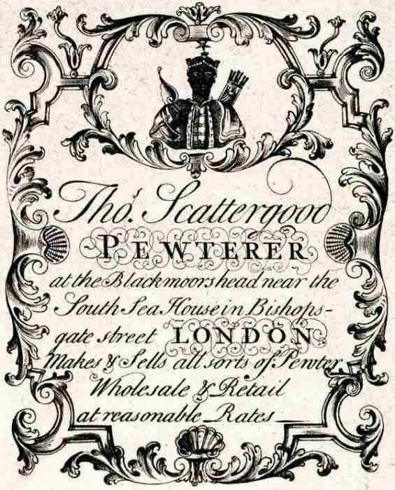 Ancient trade card of Thomas Scattergood, London pewterer