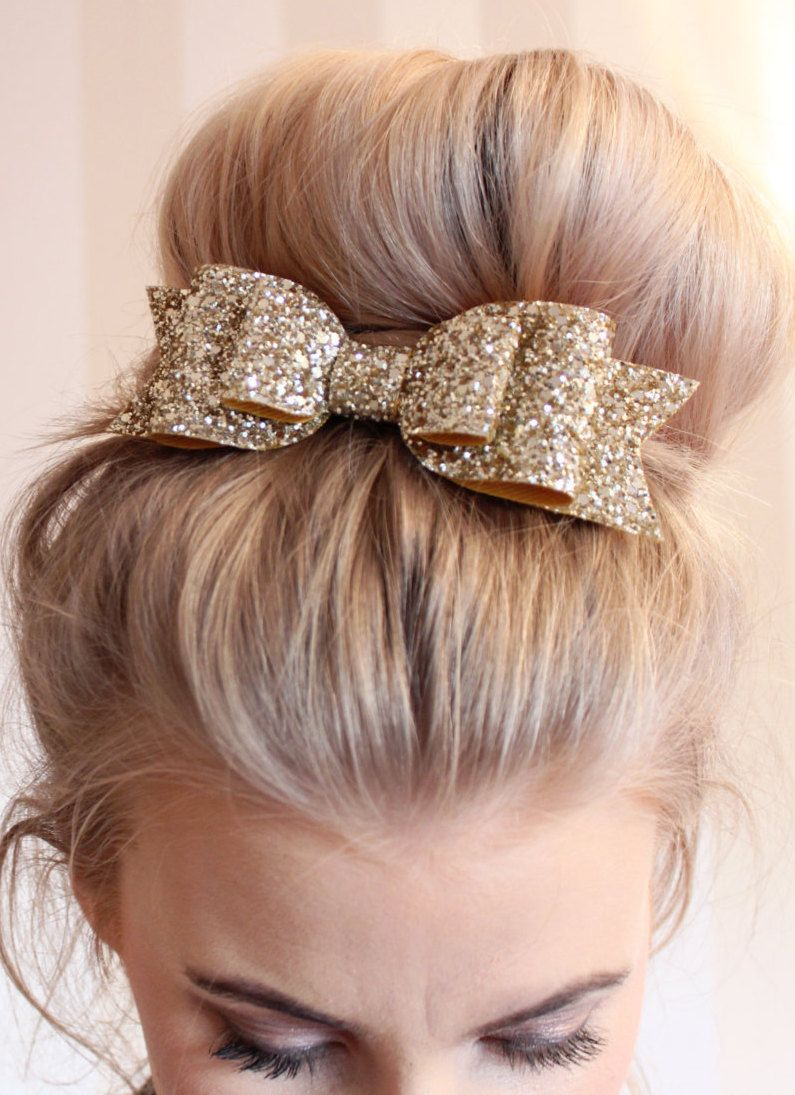 oversized large pale gold glitter fabric bow hair clip!!!   bridal