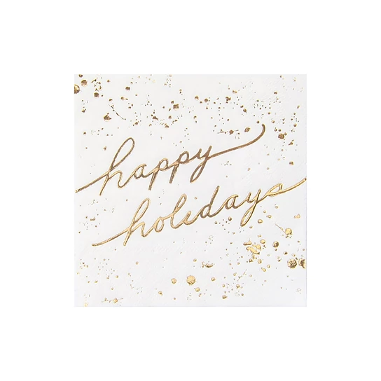 Blanc Holiday White And Gold Happy Holidays Cocktail Paper Napkins Paper Cocktail Napkins Holiday Tableware Happy Holidays