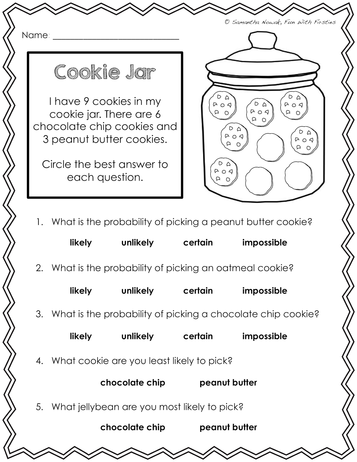 Fun With Firsties Probability Math Lesson Worksheets
