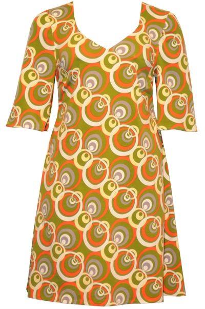 152cf970 plus size jersey tunikakjole i grøn med 70'er print | Amamiko ...