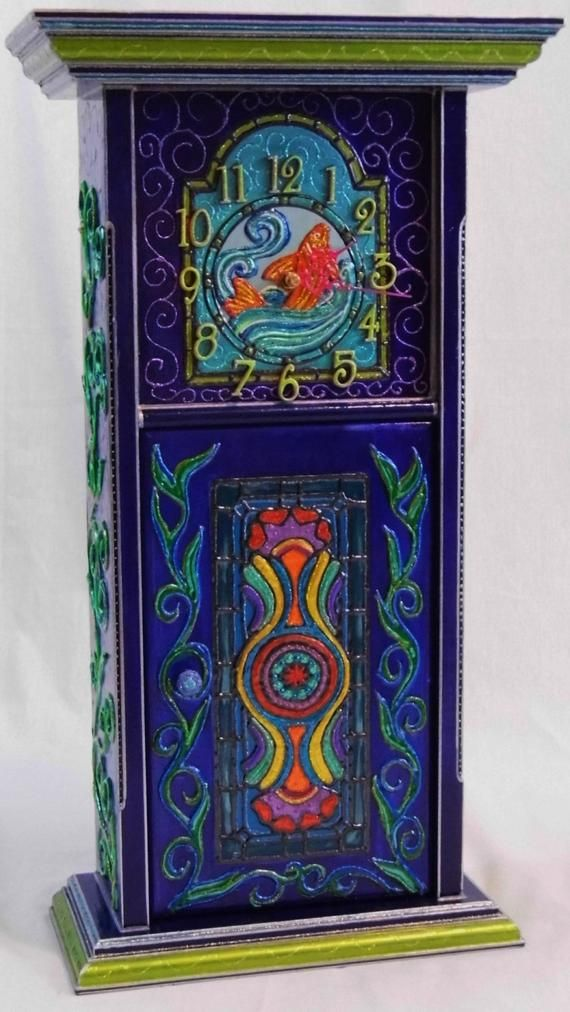 Whimsical Mantel Clock Beautiful Hand Painted Multicolored