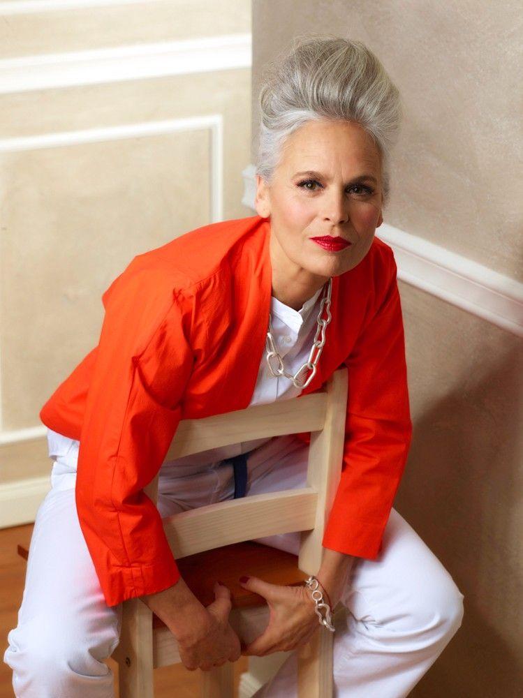 Orange And White Beautiful Gray Hair Grey Hair Women