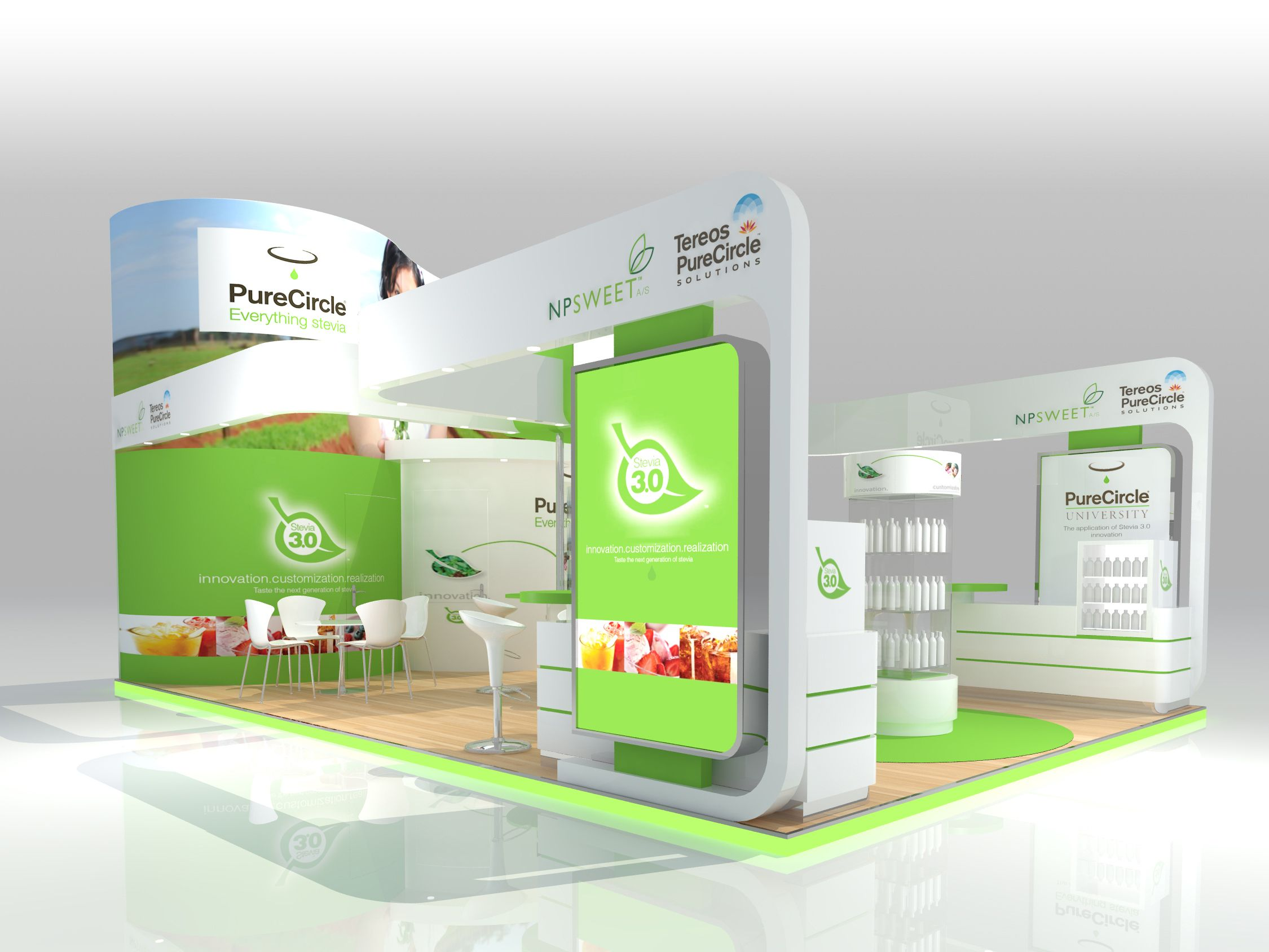 Food Exhibition Stand Design : Exhibition stand renderings for purecircle designed and