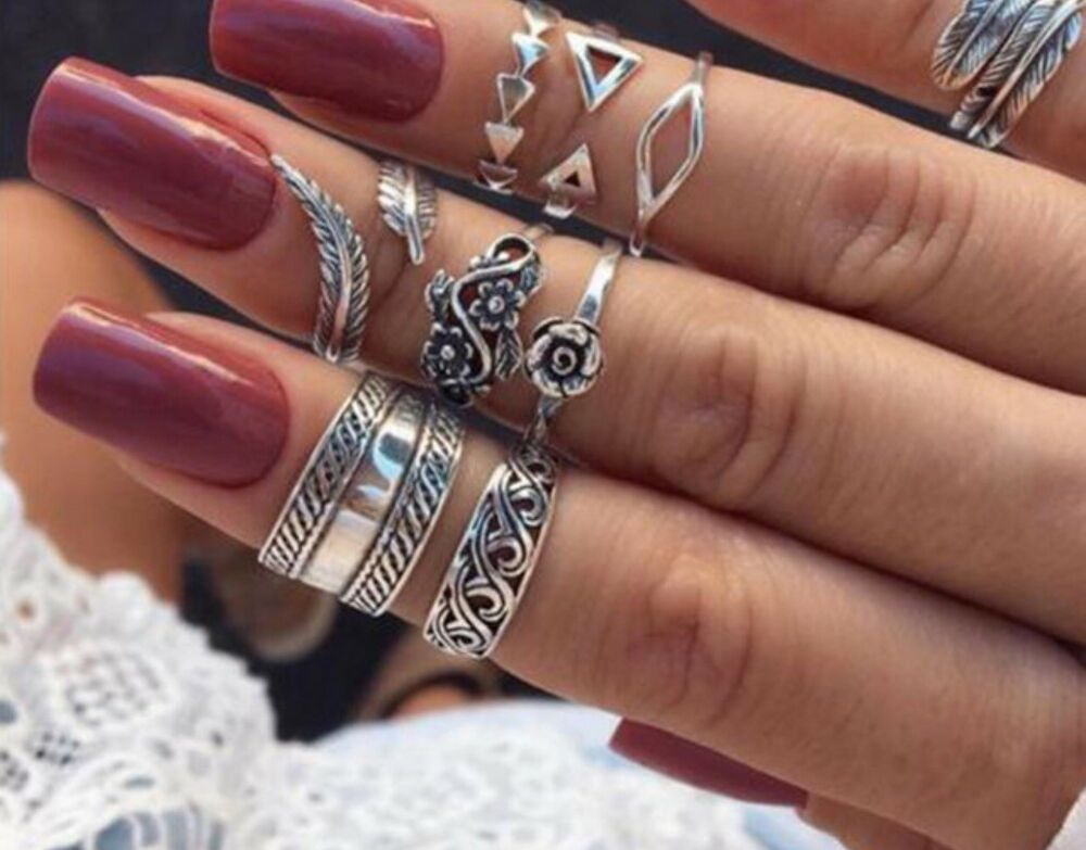 d7d7d9e1b761f Details about 9 Bohemian Boho Vintage Stacking Rings Assorted Size ...
