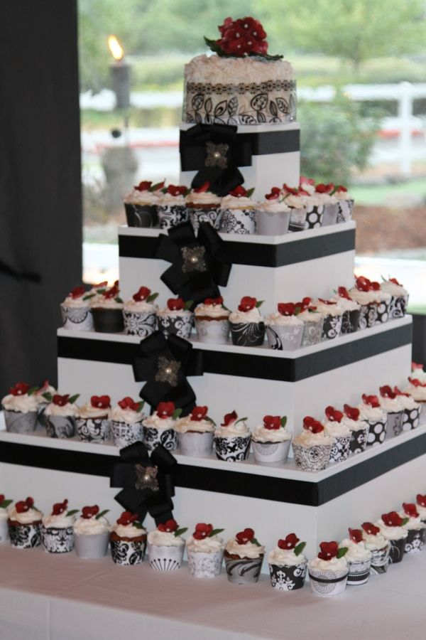 square black and white wedding cakes pictures%0A Square Wedding Cupcake Towers   Square wedding cupcake tower  u     Mini Cakes    Petit Fours