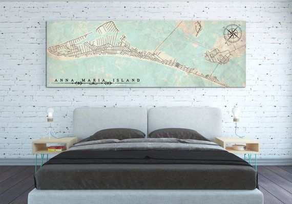 Anna Maria Island Fl Canvas Print Florida Vintage Map Extra Long Huge City Horizontal Wall Art
