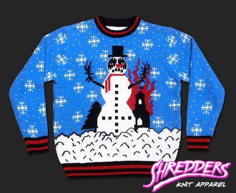 Black Metal Knit Upside Down Cross Church Burner Snowman Sweater Mid