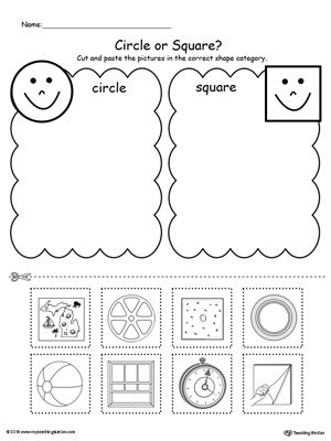 Shape Sorting Place The Circles And Squares Into The
