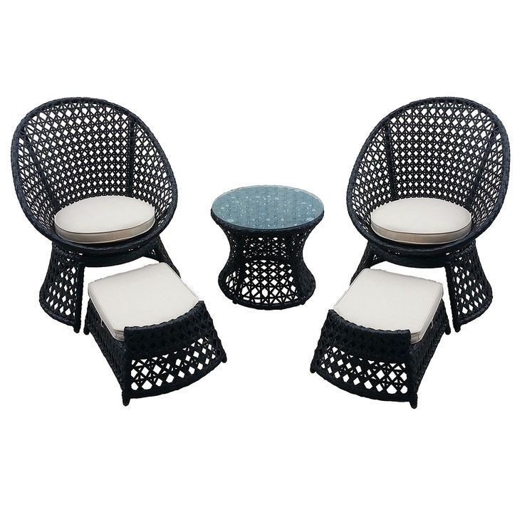 Vienna 5 Piece Wicker Chair And Ottoman Set   At Home