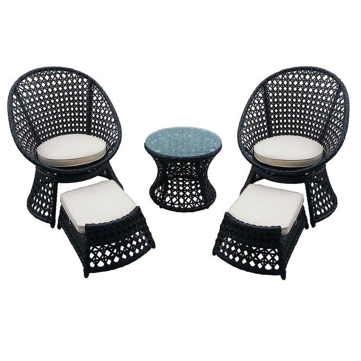 Prime Vienna 5 Piece Wicker Chair And Ottoman Set At Home Inzonedesignstudio Interior Chair Design Inzonedesignstudiocom