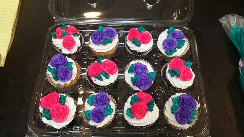 Mini roses cupcakes.  I made at work.