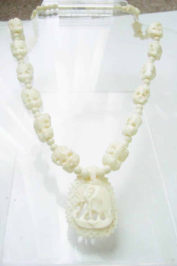 Vintage Hand Carved Bone Elephant Pendant Necklace Intricate Delicate Carving Elephant Pendant Necklace Elephant Pendant Lovely Necklace