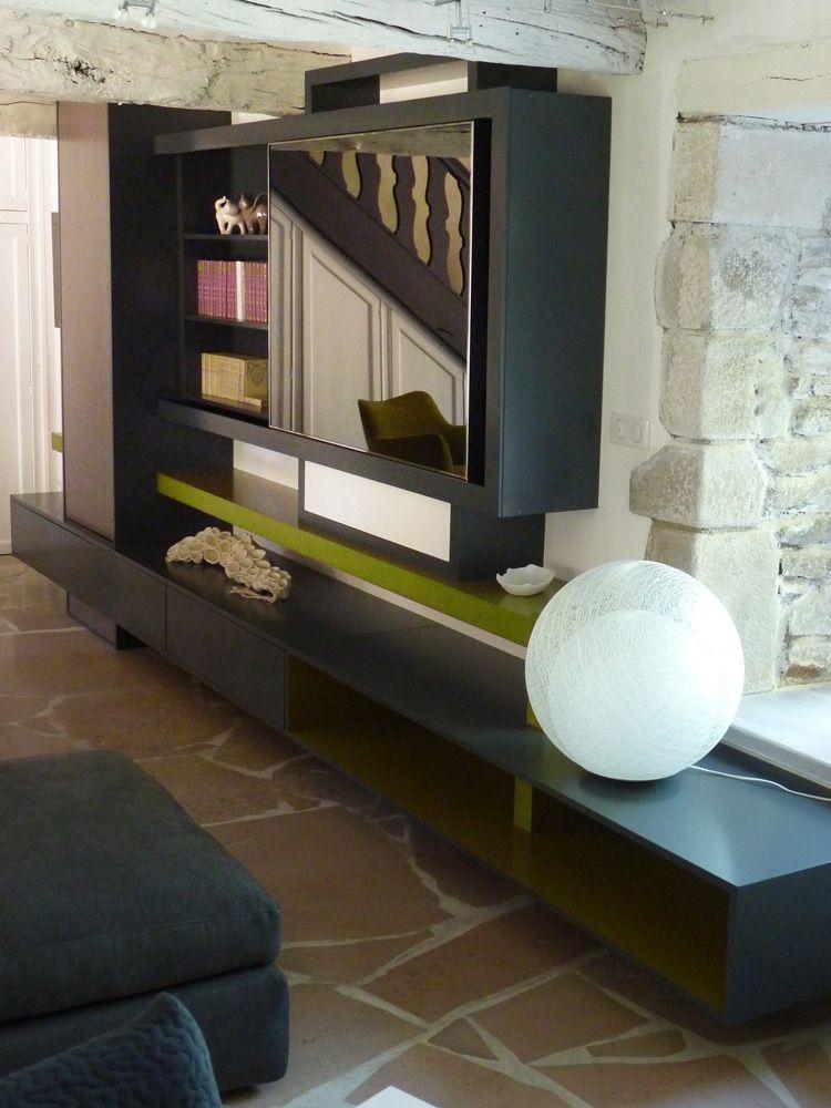 Composition Meubles Muraux, Living Meuble TV, écran TV Miroir Ad Notam,  Bibliothèque Design