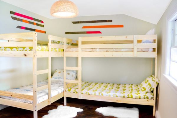 Bunk Beds For Four Wonderful Space Saving Additions To The Kids Rooms Bunk Bed Designs Ikea Bunk Bed Corner Bunk Beds