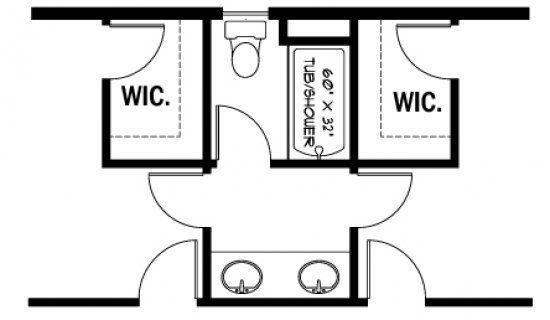 stunning ideas 7 small jack and jill bathroom floor plans bathrooms rh pinterest com Jack and Jill Bathroom Configuration Jack and Jill Restroom Plans