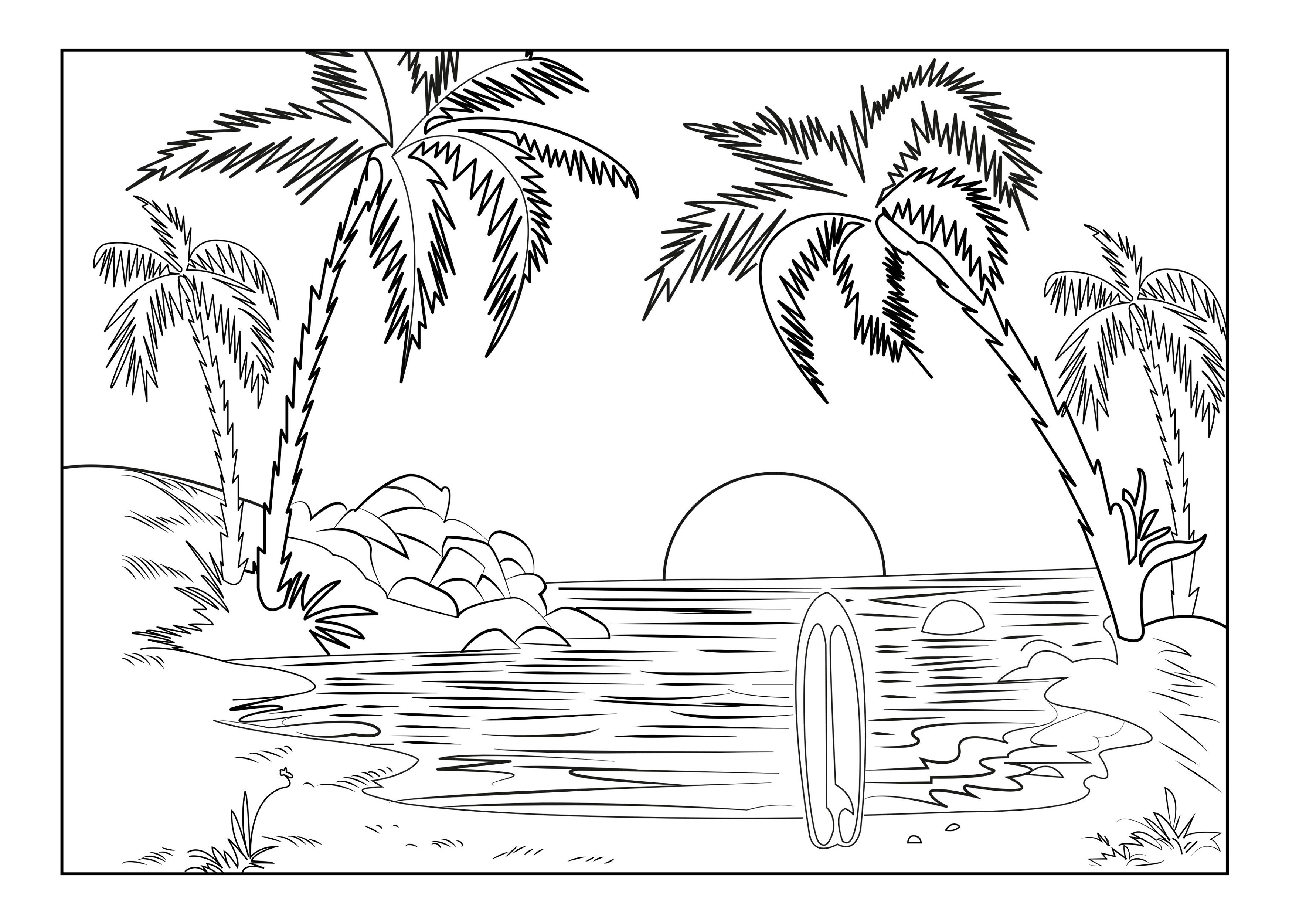 Free Adult Coloring Pages Sunset