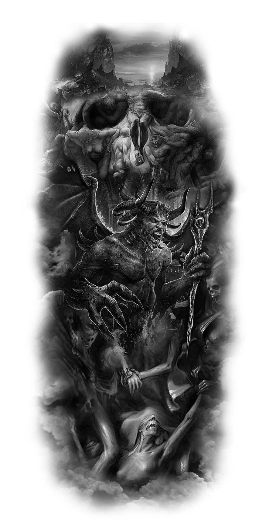 Demon Sleeve Design Evil Tattoos Skull Sleeve Tattoos Custom Tattoo Design