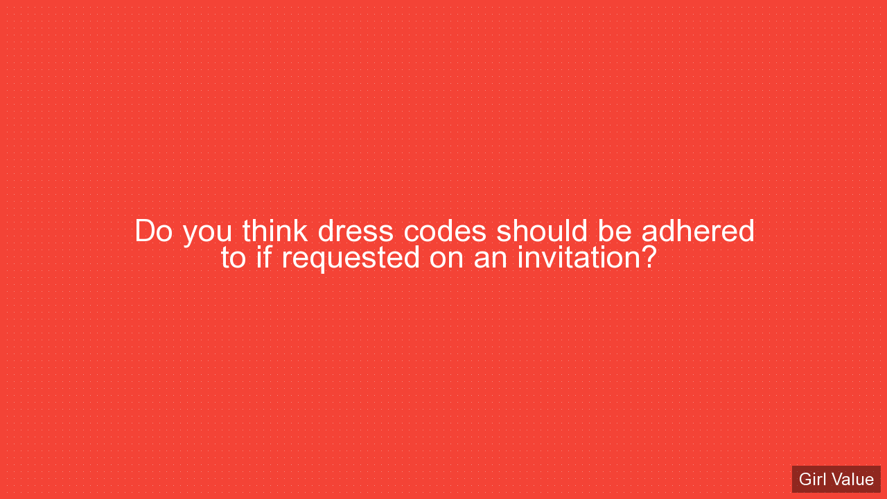 Do you think dress codes should be adhered to if requested on an invitation?