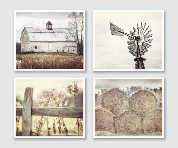 Rustic Farmhouse Wall Art Decor Set Of 4 Country Home Decor Etsy Rustic Wall Art Farmhouse Wall Art Country Wall Art