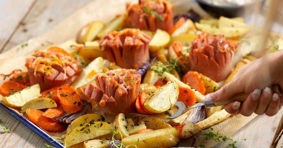 falukorvslåda med potatis