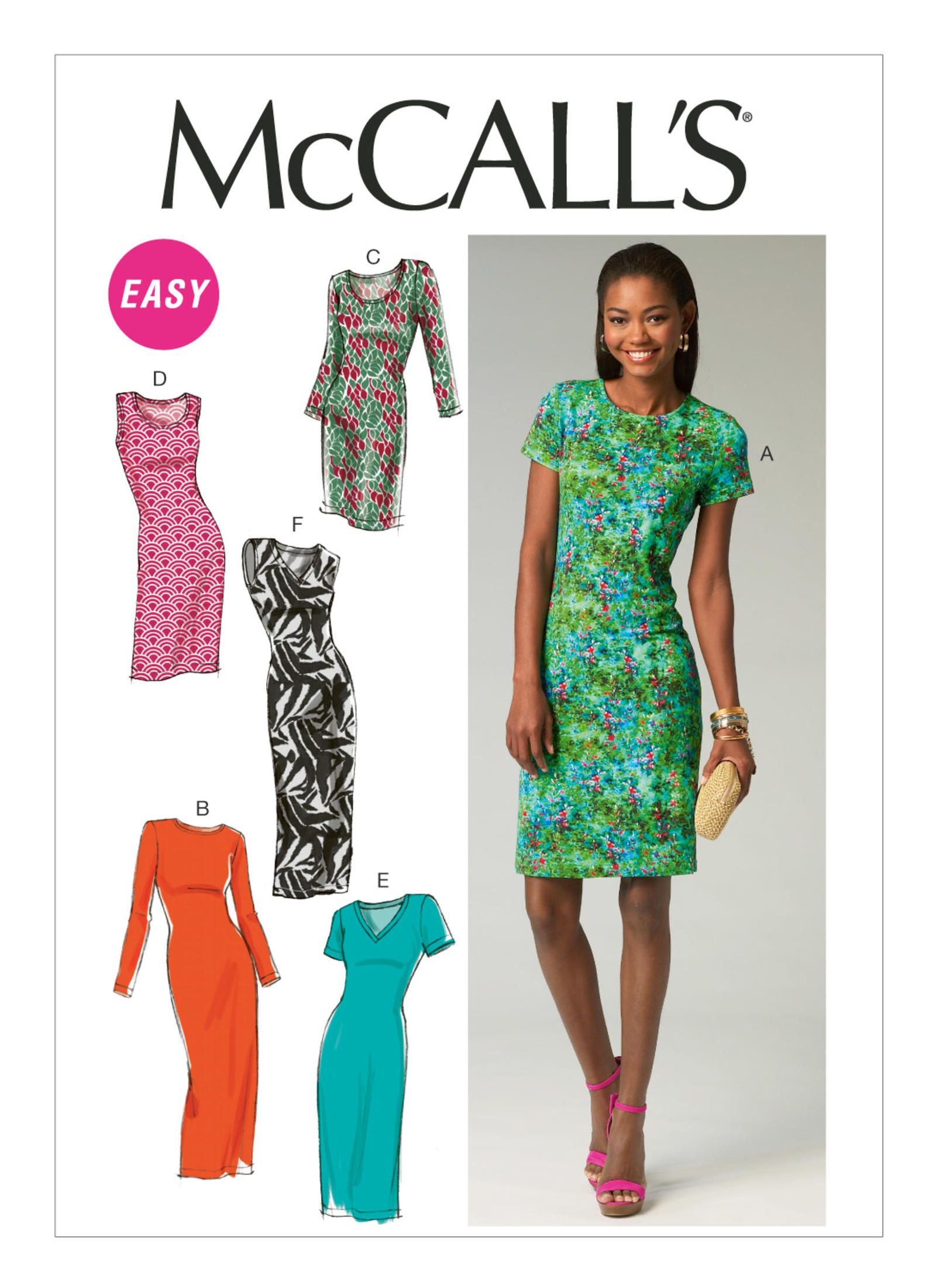 db91f24b9b8e M6886 | McCall's Patterns - Knit pullover dress in four lengths, with  sleeve & neckline variations