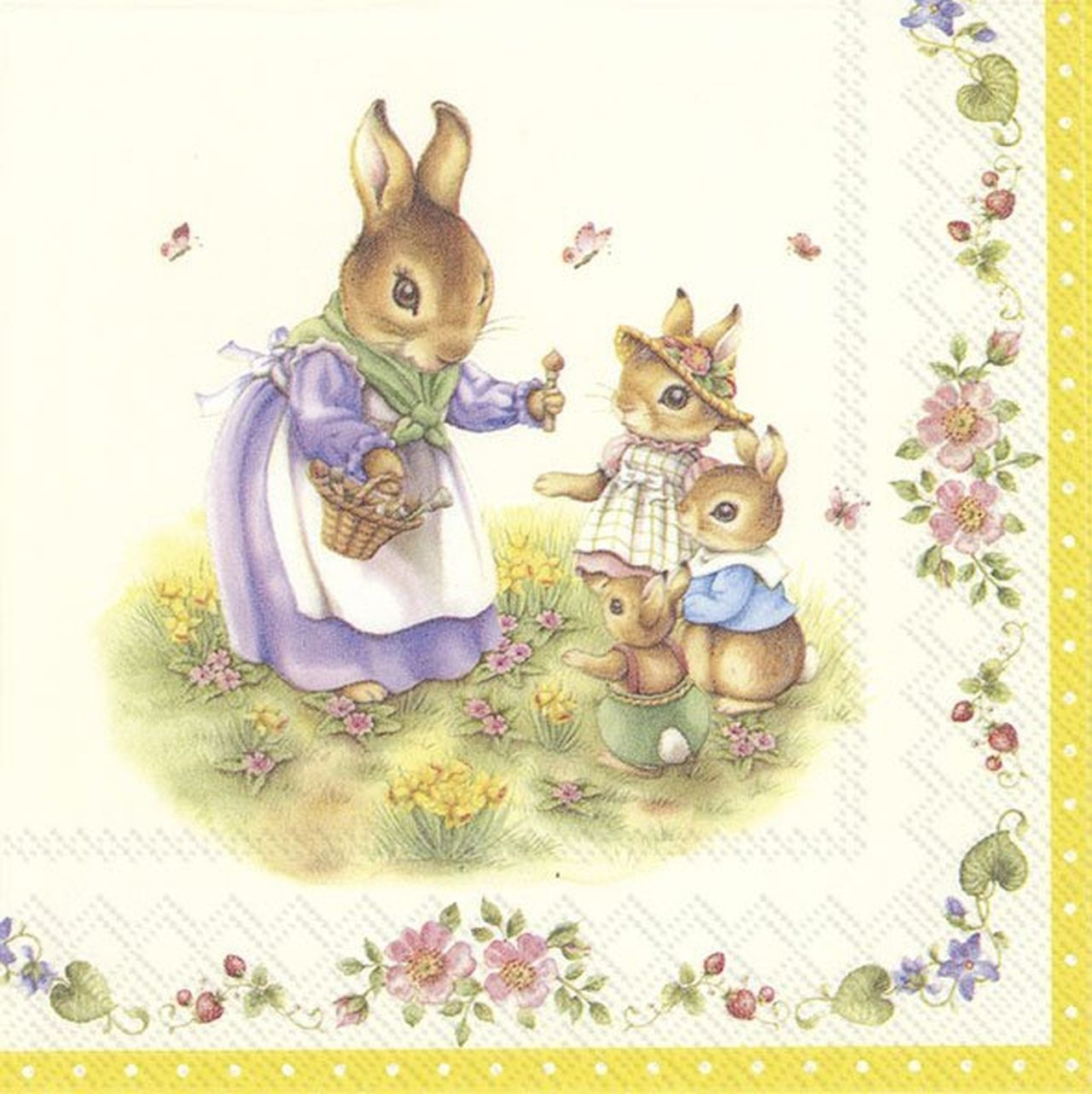 4 Lunch Paper Napkins for Decoupage Party Table Vintage Bunnies Rabbits