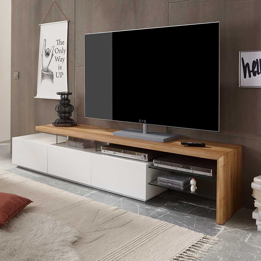 Tv Lowboard In Weiss Mit Eiche Massivholz Wohnzimmer Tv Hifi Mobel Tv Lowboards Weiss Massivholz Wohnen