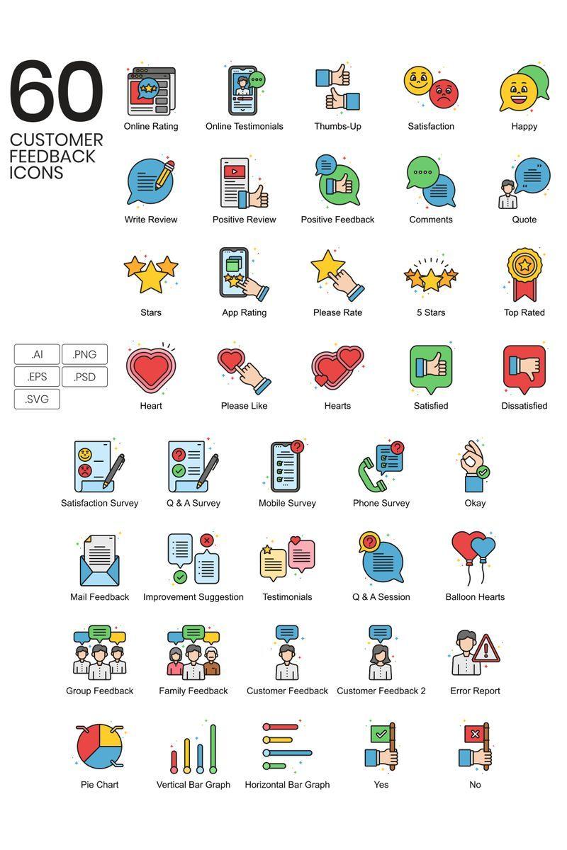 60 Customer Feedback Icons Vivid Series Iconset Template 90380 In 2020 Icon Custom Icons Customer Feedback