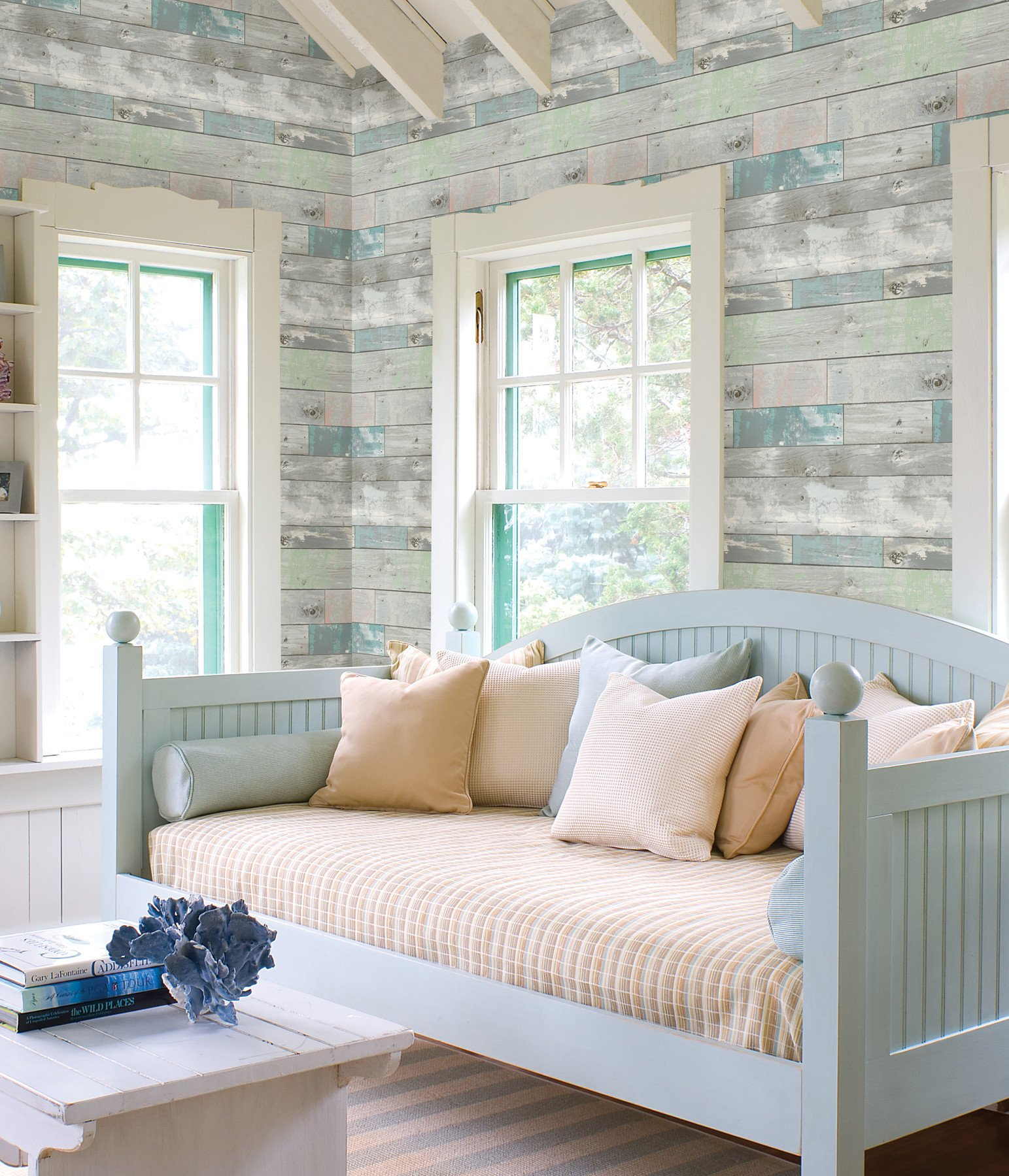 Dean Blue Distressed Wood Panel Wallpaper In 2020