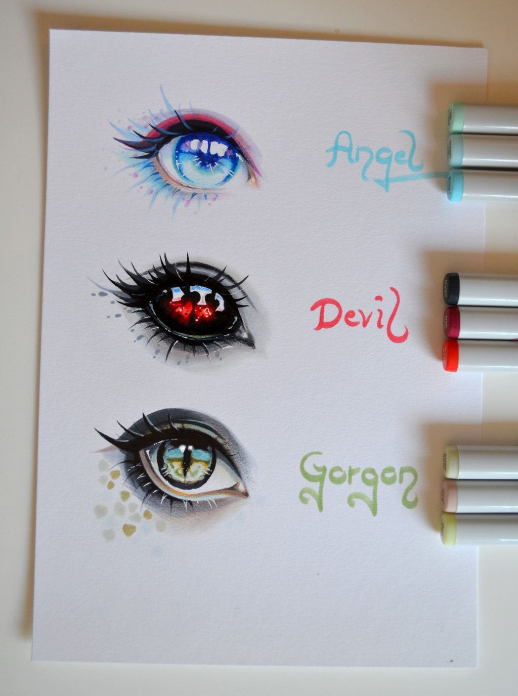 Angel, Devil or by Lighane Dibujos de ojos