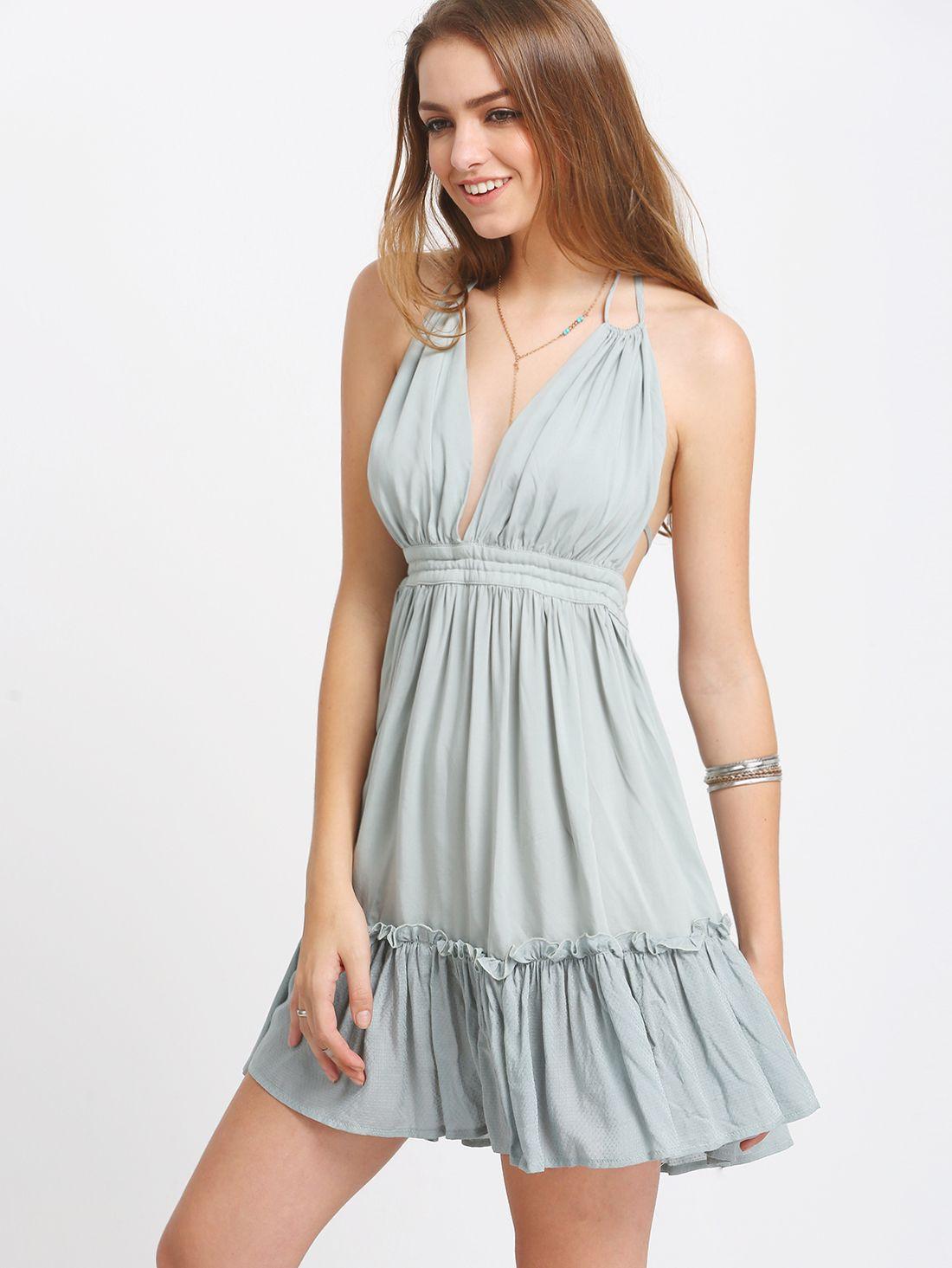 Cómpralo ya grey blue halter backless pleated dress blue sexy