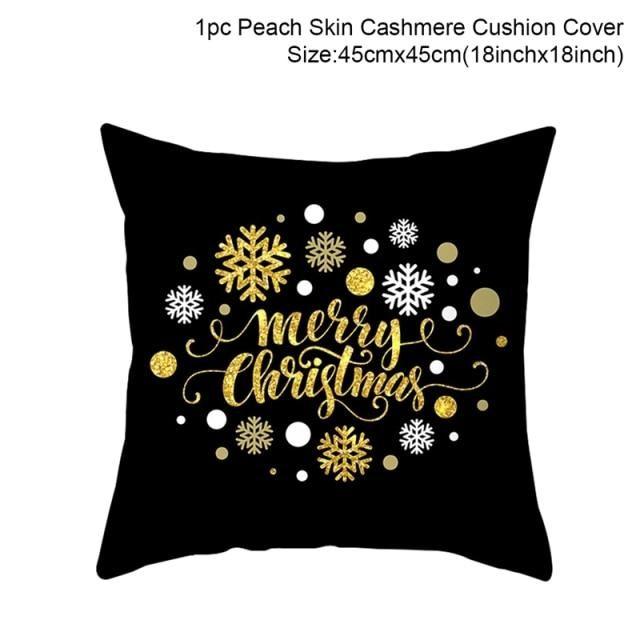 Christmas Cushion Cover Black/White/Gold - Merry Christmas