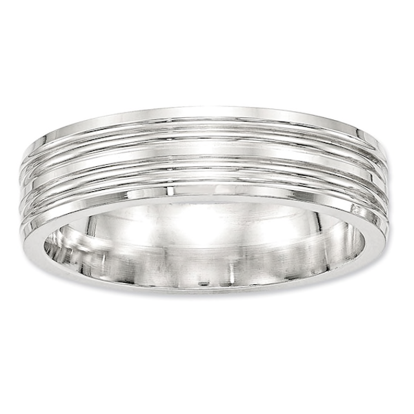 Men S 6 0mm Double Groove Wedding Band In Sterling Silver